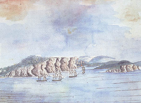 The First Fleet arriving in Sydney Harbour, by William Bradley 1788 (australianhistory.org)