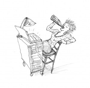 What keeps the self published writer going (sketch by Anna de Polnay)