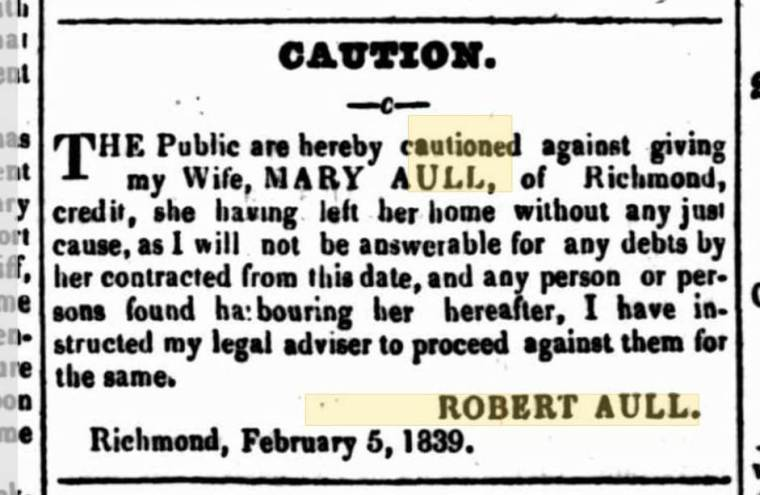 Mary Aull (Johnson) absconded cropped
